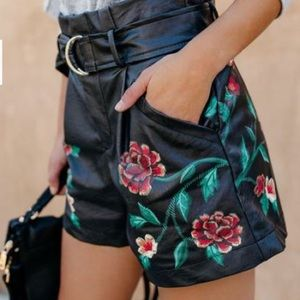 Rose Printed Faux Leather Shorts